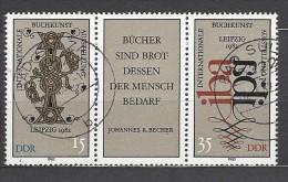 DDR - Mi-Nr. Dreierstreifen 2697 - 2698 Buchkunstausstellung Leipzig Gestempelt (1) - Zusammendrucke