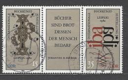 DDR - Mi-Nr. Dreierstreifen 2697 - 2698 Buchkunstausstellung Leipzig Gestempelt (2) - Zusammendrucke
