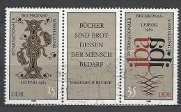 DDR - Mi-Nr. Dreierstreifen 2697 - 2698 Buchkunstausstellung Leipzig Gestempelt (3) - Zusammendrucke