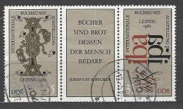 DDR - Mi-Nr. Dreierstreifen 2697 - 2698 Buchkunstausstellung Leipzig Gestempelt (4) - Zusammendrucke