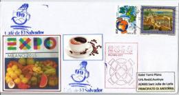 "EL SALVADOR..EXPO MILAN 2015,""Feeding The Planet"" Café Du Salvador, Lettre Du Pavillon Salvadorien Adressée En Andorre,"