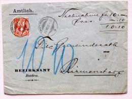 SUISSE / SCHWEIZ / SVIZZERA / SWITZERLAND // 1902, Lettre Rembours. -Nachnahme Brief, 10Rp. Ziffermarke, BADEN-OBERSTADT - Brieven En Documenten