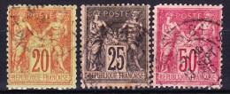 FRANCE TYPE SAGE II 1884-90 YT N° 96 à 98 Obl. - 1876-1898 Sage (Type II)