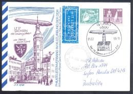 Deutschland Germany DDR Airships Zeppelin 1989 Air Mail Card: LZ 17 Sachsen 400 Landungsfahrt Von Leipzig Nach Gera - Airships