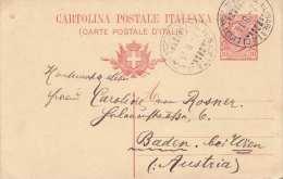 ITALIEN 1914 - 10 C Ganzsache Auf Pk, Gel.v. Venezia N.Baden B.Wien - Ganzsachen