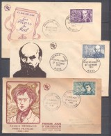 France 3x FDC Enveloppe Premier Jour YT N°908/910 Poètes Symbolistes (Baudelaire - Verlaine - Rimbaud) - 1950-1959