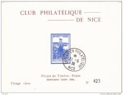 NICE   PROJET DE TIMBRE  1938  TIRAGE:1000 - Blocs & Feuillets