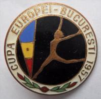 GYMNASTICS - EUROPEAN CUP BUCHAREST, ROMANIA 1957 PINS BADGES   P - Gymnastique