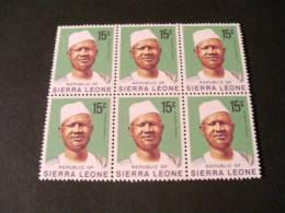K20772-  6 Stamps In Bloc MNh Sierra Leone 1973 -pres. SIaka Stevens - Sierra Leone (1961-...)