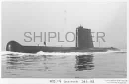 Sous-marin REQUIN (Marine Nationale) - Carte Photo éd. Marius Bar - Bateau/ship/schiff - Warships