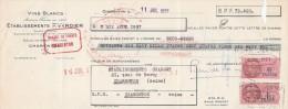 Lettre Change 11/7/1957 Ets P VERDIER Vins Blancs CHARENTON Pour EV - Lettres De Change