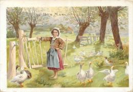 Chromo  Au Bon Marché, Fillette Qui Garde Des Oies - Au Bon Marché