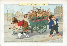 Chromo  Au Bon Marché, Les Petits Métiers, V'la Le Rempailleur De Chaises - Au Bon Marché