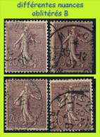N° 131 SEMEUSE FOND LIGNÉ 1903 - 4 NUANCES - OBLITÉRÉS B / TB - - 1903-60 Semeuse Lignée