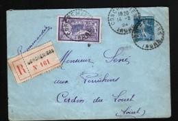 LETTRE RECOMMANDEE DE 1924 DE CONCREMIERS, INDRE - Other