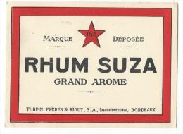 Etiquette/Vins Spiritueux Sirop/RHUM/Suza/Turpin Fréres & Riout/Bordeaux/vers 1960      ETIQ33 - Rhum