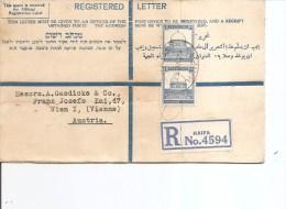 Palestine ( Lettre Recommandée De 1929 De Haifa Vers L'Autriche à Voir) - Palestine