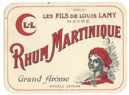 Etiquette/Vins Spiritueux Sirops/RHUM Martinique/Les Fils De Louis Lamy /Le Havre/vers 1920-1940    ETIQ60 - Rhum