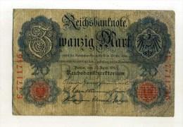 - ALLEMAGNE EMPIRE . BILLET 20 M. 1910 . - [ 2] 1871-1918 : Empire Allemand