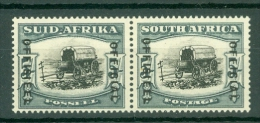 South Africa: 1950/54   Official - Ox-Wagon   SG O50    5/-  Black & Pale Blue-green  MH Pair - South Africa (...-1961)