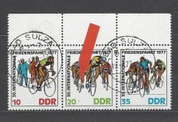 DDR - Mi-Nr. Dreierstreifen 2216 - 2218 Mit PF 2217 Radfernfahrt Gestempelt BAD SULZA - DDR