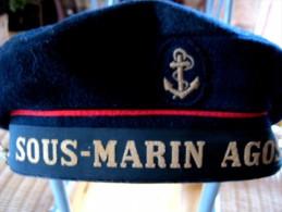 RARE ANCIEN BACHI MARINE FRANCAISE SOUS MARIN AGOSTA COMPLET TAILLE 57 / 58 TRES BON ETAT - Headpieces, Headdresses