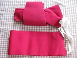 Ceinture Et Noeud D Obi  En Taffetas Rouge Cerise  D Un Kimono Japonais Envoi Colissimo - Autres