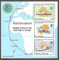 Ascension Islands 1990 Maiden Voyage RMS St Helena Miniature Sheet. Unmounted Mint - Ascension (Ile De L')