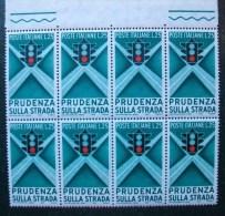 """Q061- Italia Repubblica- 1957 - """" Prudenza Sulla Strada Foglio Otto Valori   """"  Nuovi MNH Gomma Nuova - 1946-60: Nuovi"""