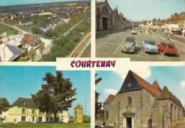 45 - Courtenay - Multi-vues - Editeur: Nivernaises N° 12.832 (voitures, Automobile, Citroen 2CV, Peugeot) - Courtenay
