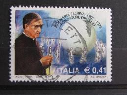 ITALIA USATI 2002 - CENTENARIO NASCITA JOSEMARIA ESCRIVA´  - SASSONE 2602 - RIF. G 2118 - LUSSO - 6. 1946-.. Repubblica