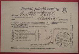 Rijeka / Fiume - Aufgabeschein über Postanweisung / Postai Földo-veveny 1913 - Kroatien