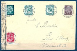 1934 , SOBRE CIRCULADO ENTRE BUCHHOLZ Y BIEL , CENSURA , INTERESANTE VIÑETA PUBLICIDAD TEMA ELECTRICIDAD AL DORSO - Cartas