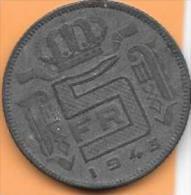 5 Francs Zinc 1943 FR  Clas D 21 - 1934-1945: Leopold III