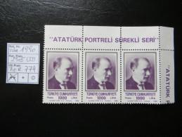 """1990  """" Atatürk """" 3er Streifen Aus Bogenrand, K14 TOP  Postfrisch   LOT 774 - 1921-... Republik"""