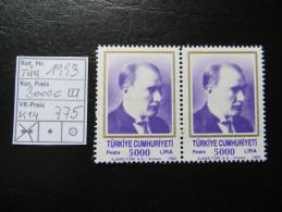 """1993  """" Atatürk """"  Pärchen, K14  TOP  Postfrisch   LOT 775 - 1921-... Republik"""