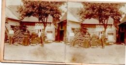 Stereofoto - Dienstboten ? Vor Haus - Unbekannt Ca 1880 - Stereoscoopen