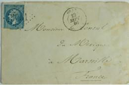 Algérie Envelope 1866 Oran  --> Marseille, Affr. 20c  GC 5051 Et Tad 15 / Voir Les Images - 1849-1876: Période Classique