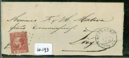 POSTHISTORIE * BRIEFSTUKJE Uit 1870 Uit ROERMOND Naar LIEGE LUIK BELGIE * NVPH  8 PUNTSTEMPEL 90  (10.193) - Periode 1852-1890 (Willem III)