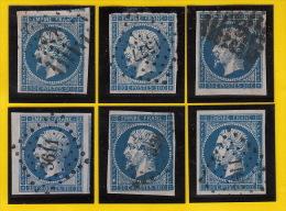 Six (6) Timbre Napoléon IIIN° 14 Avec Variétés / Surtout Variété De Case 141 A1 Coté Dans Suarnet - 1853-1860 Napoleon III