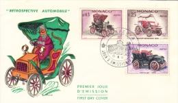 Monaco  -  'Retrospective Automobile  -  Fiat-Rochet-Schneider-Cadillac  -  Premier Jour Enveloppe   -  FDC - Voitures