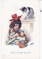 Illustrateur WUYTS A., Minet A Le Coeur Bien Gros, Entre  Chat Et Chien, Noyer Serie 159 - Wuyts