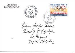 LIQUIDATION.....CONGRES DU PARLEMENT A VERSAILLES   ENVELOPPE  DU 23.06.1992  OBLITEREE - Curiosidades: 1990-99 Cartas