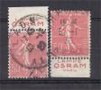 France - Carnets - Pub - Semeuse 50 C Rouge - Y&T N° 199 - OSRAM - Type II - PARIS - Lot De 2 -oblitérés - Advertising