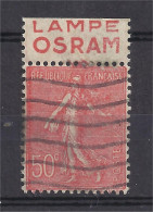 France - Carnets - Pub - Semeuse 50 C Rouge - Y&T N° 199 - OSRAM - Type IV - LAMPE - Oblitéré - Advertising
