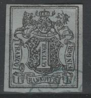 Allemagne - HANNOVER - 1850 - Obl - Michel 1 - 1 Ggr  - Valeur 65€
