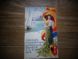 Genève Concours International De Musique 1909 Carte Tombola D - GE Ginevra