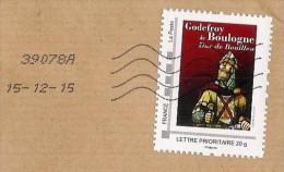 MonTimbraMoi MTM  (2012) - Godefroy De Boulogne; Duc De Bouillon. Lettre Prioritaire 20 G. Chevalier, Vitrail. Knight. - Verres & Vitraux