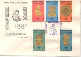 PRE OLIMPIADAS DE MEXICO 1968 PARAGUAY FDC ABRIL DE 1966 SOBRE RARE - Verano 1968: México