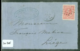 POSTHISTORIE * BRIEFOMSLAG Uit 1873 Van ROERMOND Naar LIEGE BELGIE * NVPH 21  (10.205) - 1852-1890 (Wilhelm III.)